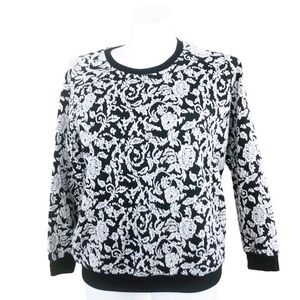 DressBarn Floral Damask Pullover White & Black 1X